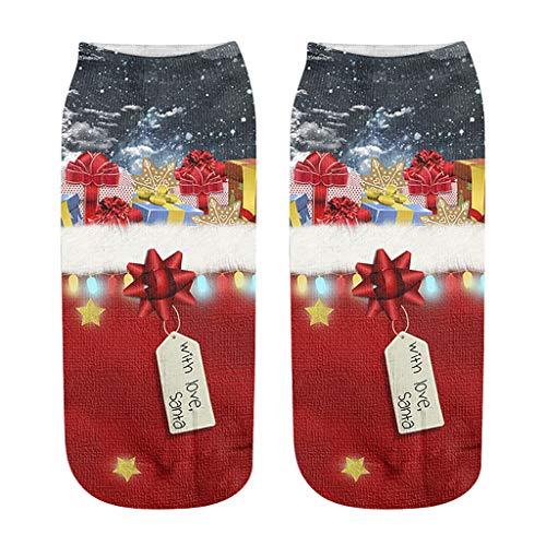 URIBAKY - Calcetines para hombre y mujer, estampados a la moda, 3D, diseño de Navidad, c, Talla única