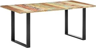 HUANGDANSP Table de Salle à Manger 180x90x76cm Bois de récupération Solide Meubles Tables Tables à Manger