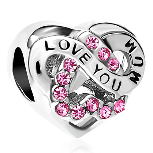 Uniqueen I Love You Mum Heart Infinity Bead Charms for European Bracelets (Pink)