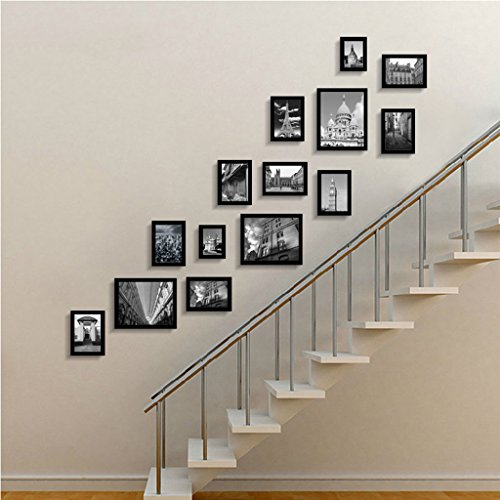 ZGP Home@Wall photo frame Staircase Photo Wall Hanging Wall Creative Combination Entrance Hallway Photo Wall Solid Wood Frame Wall Corridor European Small Wall Surface (Color : D, Size : 15075CM)