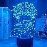 Yulefly Lámpara de Ilusión 3D 16 Colores Luz de Noche Led Luz Nocturna de Anime Japonés Satoru Gojo Creativo Led Lámpara de Escritorio para Niños Decoración de Dormitorio (Satoru Gojo)