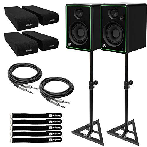Best Bargain Mackie CR4-X 4 Active Powered Multimedia Studio Monitor Speakers Pair w Stands