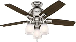 Hunter Indoor Ceiling Fan, with pull chain control - Donegan 44 inch, Brushed Nickel, 52230