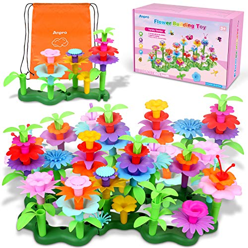 Anpro 135pcs Flower Building Toy for Kids,with a Storage Bag , Preschool...