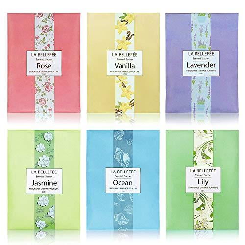 LA BELLEFÉE Duft Sachets Taschen Luftentfeuchter Duftsachet für Kleidung, Fragrant für Schubladen Schränke Büro-Toiletten, 30g X 6 Stück