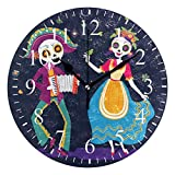 JERECY Day of The Dead Sugar Skull Wall Clock Silent Non-Ticking 10 Inch Round Clock Acrylic Art Painting Home Office School Decor
