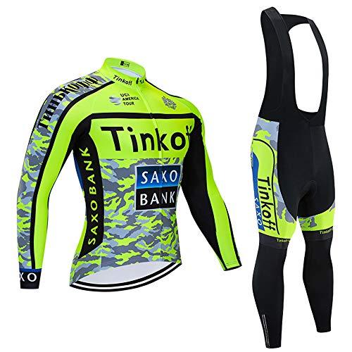 Completo Ciclismo Autunno/Primavera Manica Lunga Tuta Ciclismo Uomo i Pantaloni con Bretelle in 3D Gel