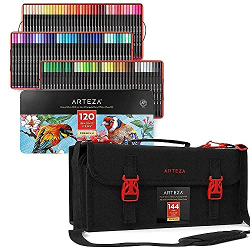 Arteza Fineliner Fine Point Pens and Art Markers & Pens Organizer (144 Slots) Bundle, Drawing Art Supplies for Artist, Hobby Painters & Beginners