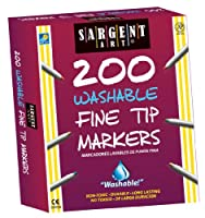 (4, Assorted) - Sargent Art 22-1526 200-Count Fine Tip Washable Marker, Classpack