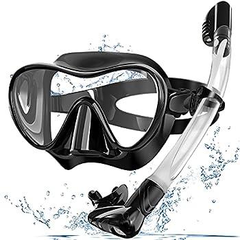 Bairuifu Snorkel Mask Foldable Dry Top Snorkel Set Anti-Fog Tempered Glass Scuba Mask,Professional Snorkeling Gear for Adults(Black)
