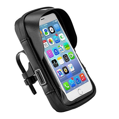 LAANCOO Bicicletas Bolsa de teléfono móvil, Bolso de la manija de la Bicicleta, Soporte para teléfono móvil, Bolso del Cuadro de la Bicicleta Negro y Soporte para teléfono móvil