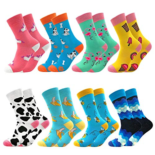Fun Colorful Socks Combed Cotton Stockings Mid Calf Art Patterned Funky Happy Sock Packs, 8 Pairs806, Free Size US 6-11