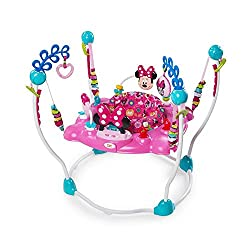 12 engaging toys and activities. Electronic station with lights and sounds, 2 volume options. Toys include spinning ball with beads, heart shaped mirror, Minnie Mouse bead chaser toy and tact... 3 link loops to attach favourite toys. 4 easy-adjust he...