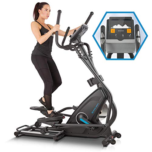 Capital Sports Helix Star MR - Bicicleta elíptica con ordenador, Máquina de correr elíptica, Bluetooth, 32 niveles, Aplicación móvil, Inercia de 21 kg, Soporte para tablet, Pulsómetro, Antracita