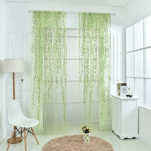 """Norbi Willow Voile Tulle Room Window Curtain Sheer Voile Panel Drapes Curtain (Green B/39.4"""" X 106.3"""") …"""