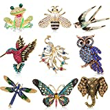 9 Pieces Woman Animal Brooch Pins Set Vintage Crystal Pin Dragonfly Butterfly...