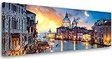 Feeby. Cuadro en lienzo, Imagen impresin, Pintura decoracin, Canvas de una pieza, 150x50 cm, GRADO DEL CANAL, VENECIA, ARQUITECTURA, AZUL