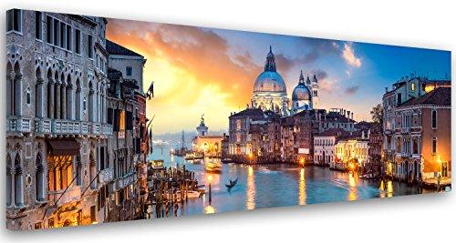 Feeby. Cuadro en lienzo, Imagen impresión, Pintura decoración, Canvas de una pieza, 100x40 cm, GRADO DEL CANAL, VENECIA, ARQUITECTURA, AZUL