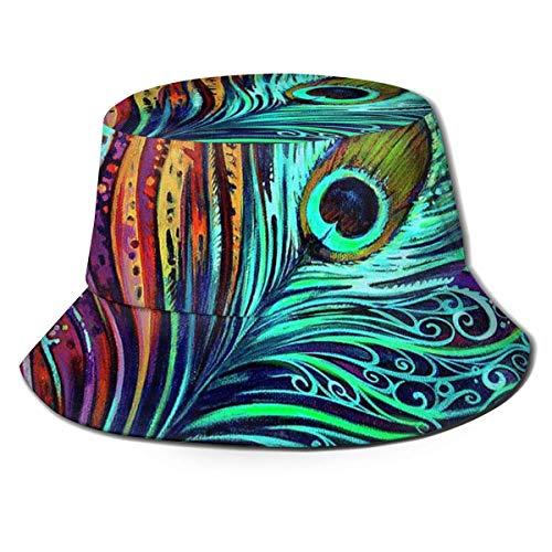 BUXI Printing Bucket Hat,Mehrfarbiger Pfauenfeder-Kunst-Eimer-Hut, Personalisierte Druck-Angelhüte Für Camping-Strandurlaub