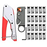 ESYNIC Coax Cable Crimper Coaxial Compression Tool Kit Wire Stripper with Coaxial F
