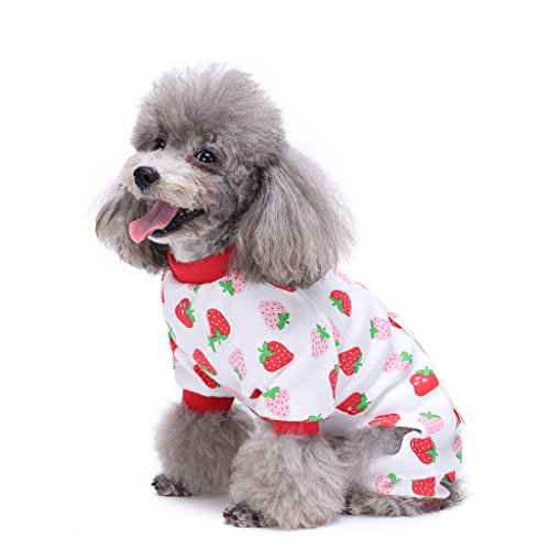 S-Lifeeling - Disfraz de perro con patrón de fresa, cómodo pijama para cachorro de perro suave, el mejor regalo, 100% algodón, abrigo para perros medianos y pequeños