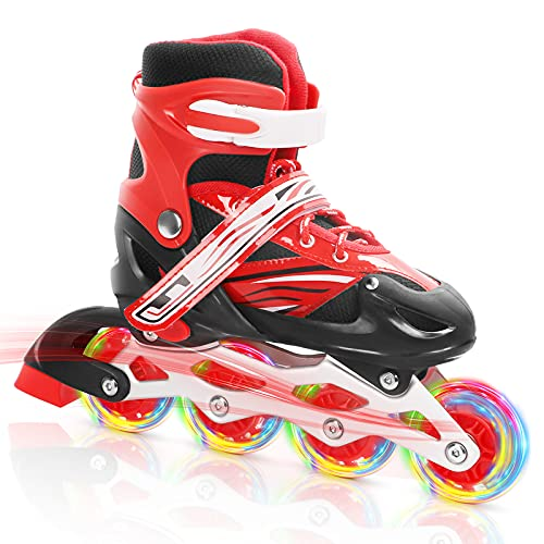 Dripex Inline Skates for Kids, Adjustable Roller Blades with All Light Up Wheels for Girls Boys, Outdoors and Indoors Illuminating Roller Skates with Youth, Adults, Beginner