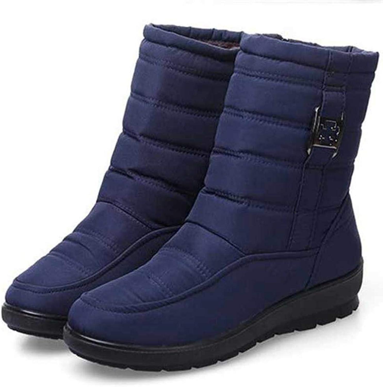 Women's Snow Boots Waterproof Zipper Flat Heel Winter Plush Warm Anti-Slip Sole Round Toe Female Ankle Boots