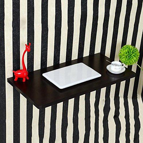 Dongy Table Pliante Murale à Poser, Table de Repas Pliante Bureau Informatique Table de Travail, Table en Bois, Noire (Size : 70 * 50CM)