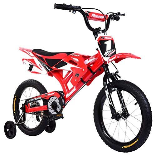 Kinderfahrrad, 16 Zoll Motorrad Design Fahrrad mit Schutzblechen und Dual V-Brake, Anti Skid Metallrahmen Fahrrad, Vierrad Kinder Praxis Auto Motorrad Fahrrad für Reisen Unterhaltung