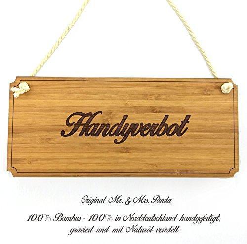 Mr. & Mrs. Panda Türschild Handyverbot Classic Schild - 100% handgefertigt aus Bambus Holz - Schild Türschild Wandschild Wanddeko Deko Wanddeko Geschenk Hinweisschild Hinweis