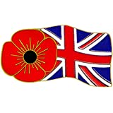 Red Flower Union Flag Pin Badge
