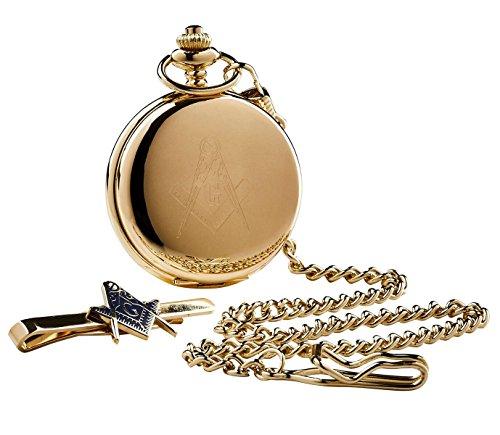 The Luxury Vault Luxus-Freimaurer-Geschenk-Set, Gold-Freimaurer-Taschenuhr und Krawatten-Clip, mit Holzbox