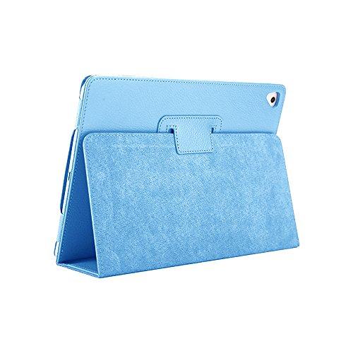 iPad Air 2 ケース、FANSONG えあ 9.7 インチ 第5、6世代 2017 2018カバー レイシ皮革 折り畳み 超薄型 ケース【耐衝撃 傷防止 耐久性 オート スリープ機能】全面保護 -Apple iPad Air 1、Pro 9.7、天青