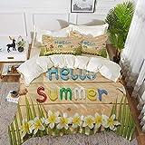 ropa de cama - Juego de funda nórdica, decoración de estilo de vida, Hello Summer Quote sobre tabla de madera con diseño de concha de estrella de mar de flores, S, juego de funda nórdica de microfibra