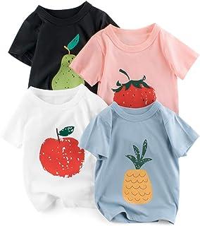 Camiseta para Niñas Pack de 4 T-Shirt Manga Corta Algodón Dibujos Animados Impresión Bebé Tops Trajes de Verano
