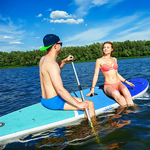 "Zupapa 2019 Upgrade Inflatable Stand Up Paddle Board 6"" Thick 11 FT Kayak Convertible All Accessories Included"