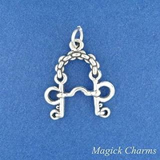Pelham Bit Horse Riding Bridle 925 Sterling Silver 3D Charm Pendant Bracelet Jewelry