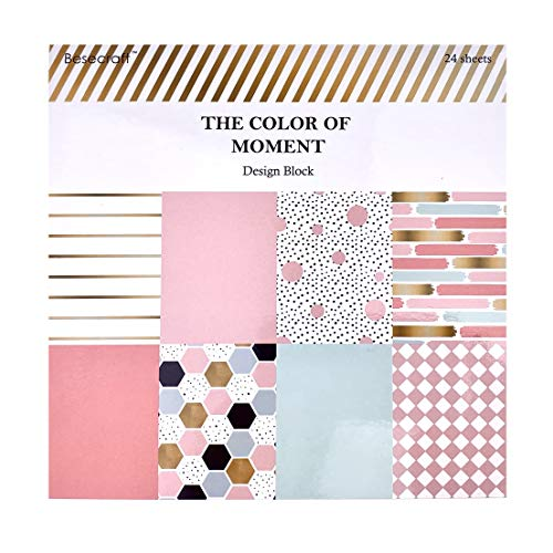 Besecraft Designer Cardstock Paper Pad for Crafting Paper Pads Scrapbooking MultiColored and Foil 8 Designs 24 Sheets 59x59 inches for Origami Decopage Decorative Gift Wrapping Book Covers