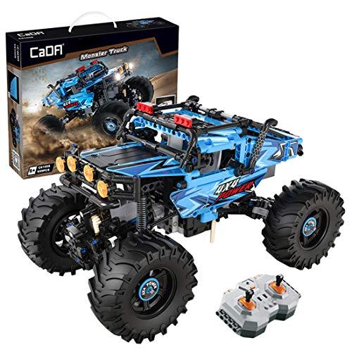 FADY Technik Bausteine mit Fernbedienung, Motor & LED Licht, 2.4Ghz RC Off-Road Monster Modell Bauset Kompatibel mit Lego Technic - 699 Teile