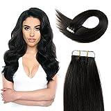 24inch Black Tape In Hair Extensions Human Hair Tape In Extensions Remy Hair Tape In Extensions 50g 1B#…