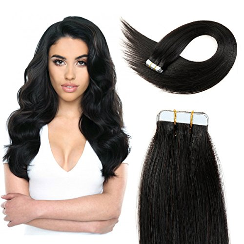 20 inch Straight Tape Hair Extensions Double Side Tape in Remy Human Hair Extensions 20pcs 50g/pack (#1B) Off Black ...