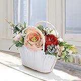 Efanty Künstliche Blumen Pfingstrosen Seidenblumen Handgemachte Pflanzen mit Romantischem Blumenkorb Geschenk für Kinder/Mädchen, Blumen Deko für Hochzeit Dekoration Party Haus (Orange-2)