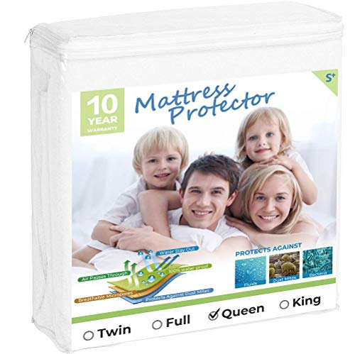 beegod Premium Waterproof Mattress Protector Breathable & Noiseless Mattress Pad Cover Vinyl Free Hypoallergenic Dust Proof Smooth Soft Cotton Terry Covers (Queen)