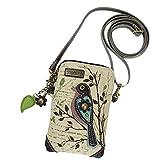 Chala Crossbody Cell Phone Purse - Women Canvas Multicolor Handbag with Adjustable Strap (Bird - Safari Sand)