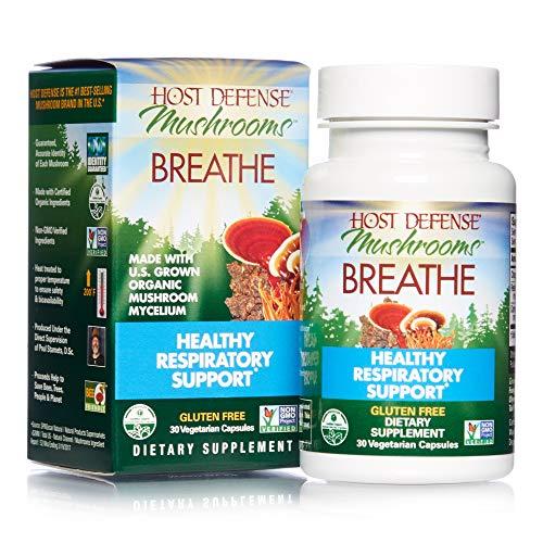 Host Defense, Breathe, 30 Capsules, Respiratory Support, Mushroom Supplement with Cordyceps, Reishi and Chaga, Vegan, Organic, 15 Servings