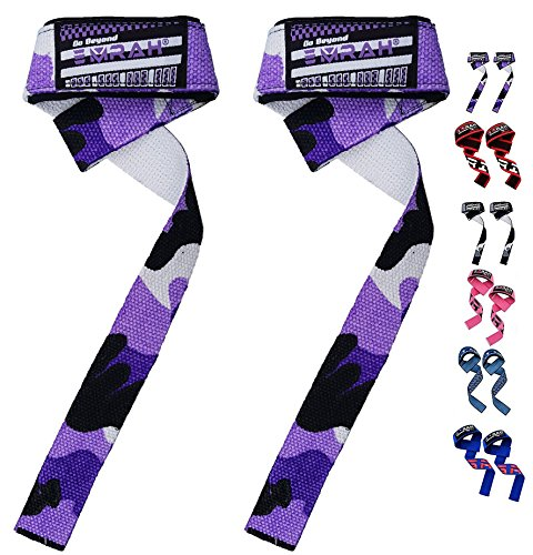 EMRAH Lifting Straps (Pair) - Weightlifting Hand Bar Wrist Support Hook Wraps, Wrist Supports Assist Grip Strength Weight Lifting Straps for Bodybuilding, Power Lifting (Camo Purple, Standard)