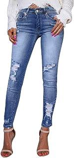 Vaqueros Rotos Mujer Pantalones Lápiz Ajustados Pantalones Largos Casual Cintura Alta Pantalones Pitillos Elásticos Push U...
