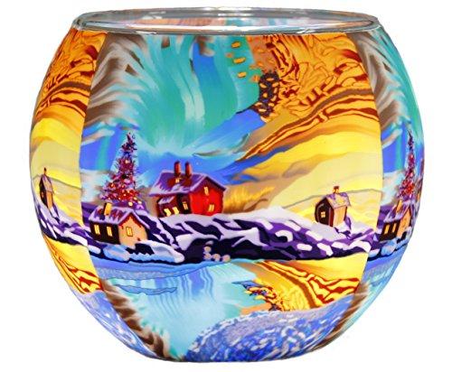 Himmlische Düfte Geschenkartikel GmbH Northern Light Windlicht, Glas, bunt, 11 x 11 x 9 cm