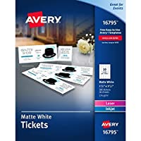 Avery Matte White Printable Tickets with Tear-Away Stubs 1-3/4 x 5-1/2 Pack of 500 (16795) 【Creative Arts】 [並行輸入品]