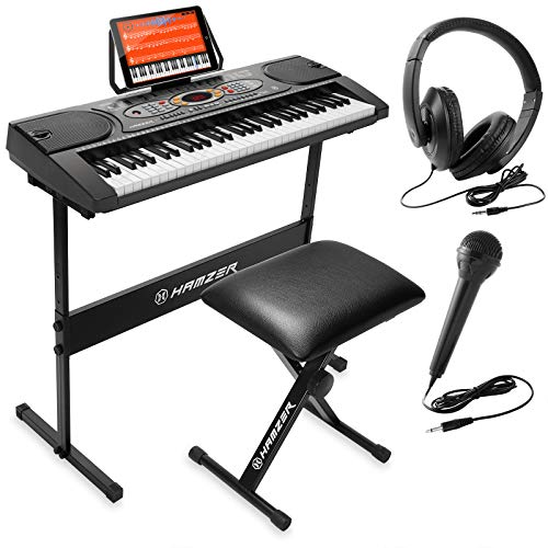 Hamzer 61-Key Electronic Keyboard Portable Digital Music Piano with H Stand, Stool, Headphones Microphone, Sticker Set